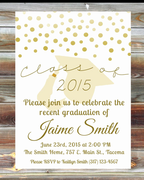 Wording for Graduation Party Invitation Inspirational Gold Graduation Open House Invitation Custom Graduation