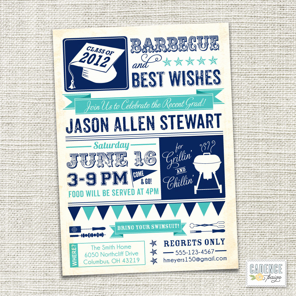 Wording for Graduation Party Invitation Unique Items Similar to Graduation Party Invitation Bbq