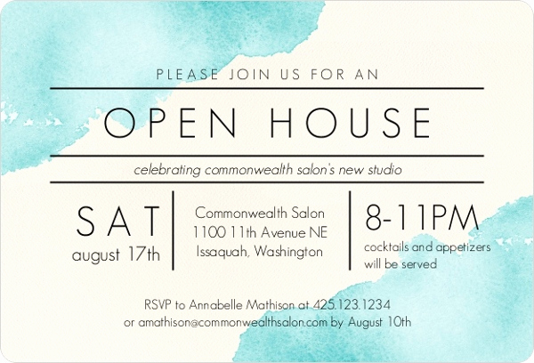 Wording for Open House Invitation Best Of Modern Watercolor Corporate Open House Invitation