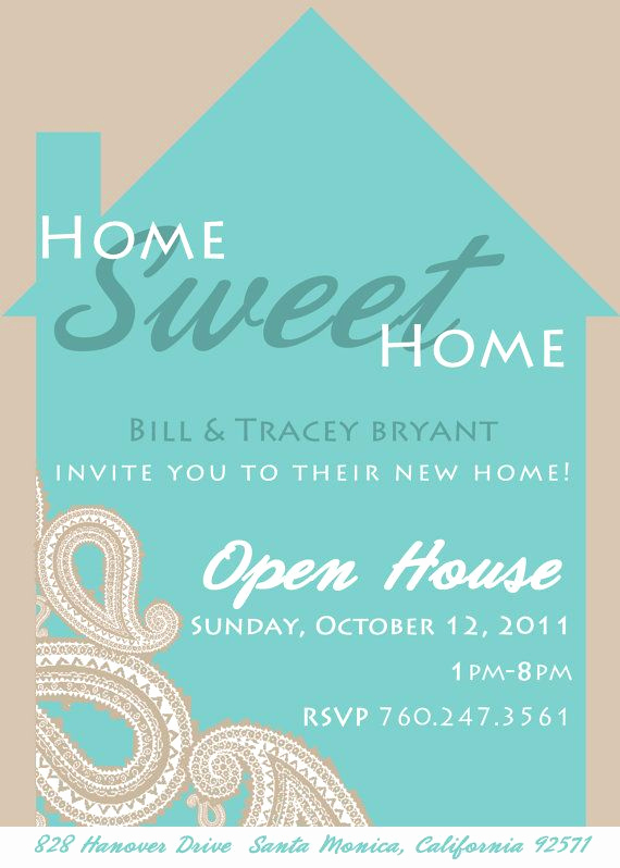 Wording for Open House Invitation Best Of Paisley Home Sweet Home Housewarming Invitation