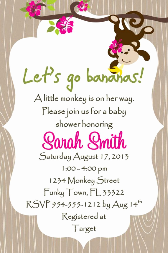 Wordings for Baby Shower Invitation Awesome Monkey Baby Shower Invitation Template Girl or Boy