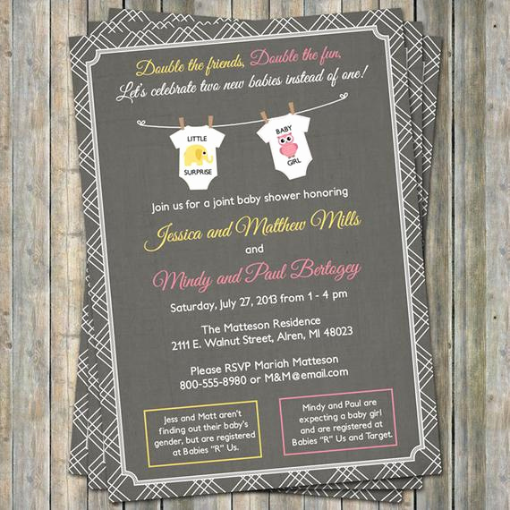 Wordings for Baby Shower Invitation Beautiful Joint Baby Shower Invitation Onesies by Freshlysqueezedcards