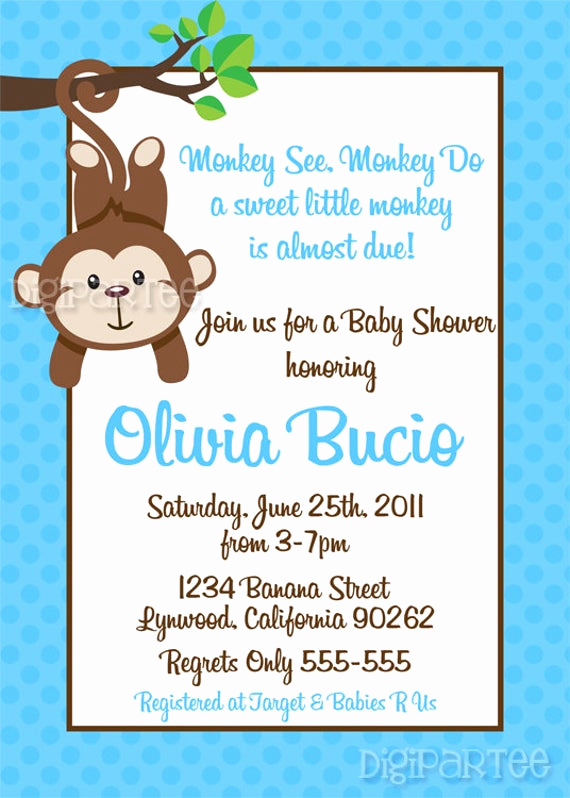 Wordings for Baby Shower Invitation Inspirational Monkey Baby Shower Invitation by Dpdesigns2012 On Etsy