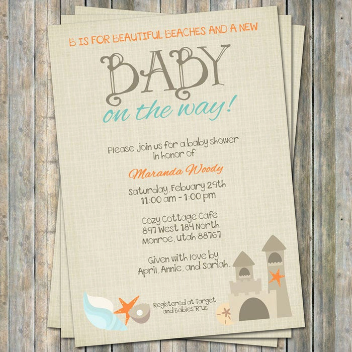 Wordings for Baby Shower Invitation New Beach Baby Shower Invitation Baby Shower Invitation