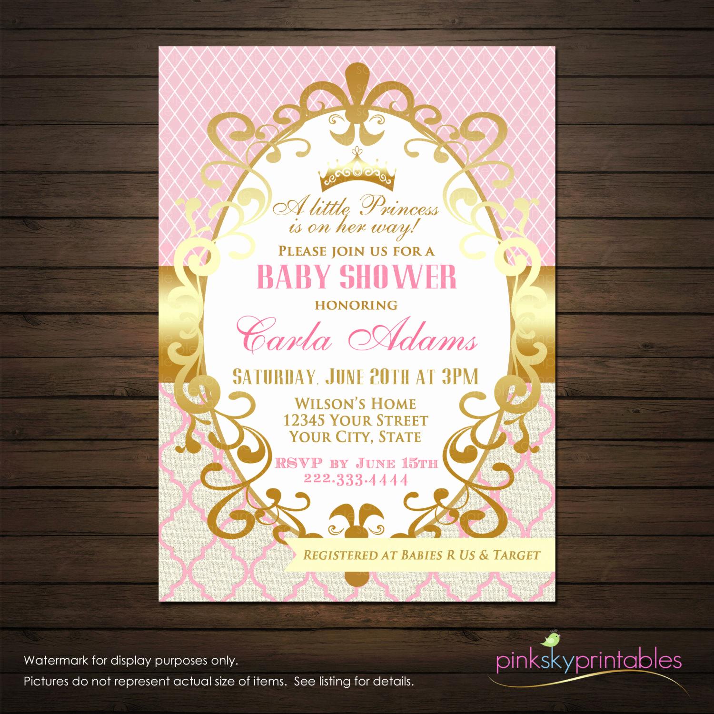 Work Baby Shower Invitation Fresh Princess Baby Shower Invitations Printable File Girl Shower