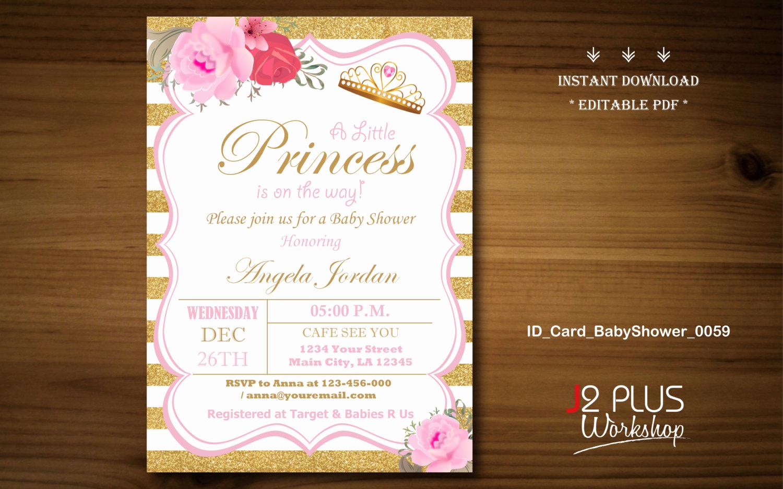 Work Baby Shower Invitation Inspirational Instant Download Baby Shower Invitations Printable Princess