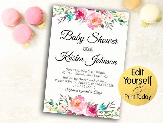Work Baby Shower Invitation Lovely Baby Shower Invitation Template Editable Baby Shower Invite