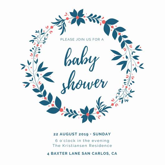 Work Baby Shower Invitation Lovely Blue Wreath Baby Shower Invitation Templates by Canva