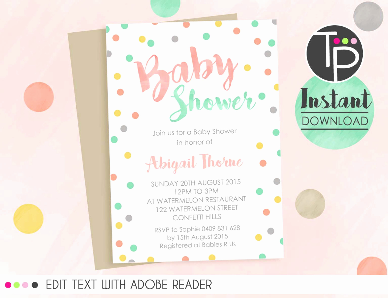 Work Baby Shower Invitation Lovely Confetti Baby Shower Invitation Instant Download Invitation
