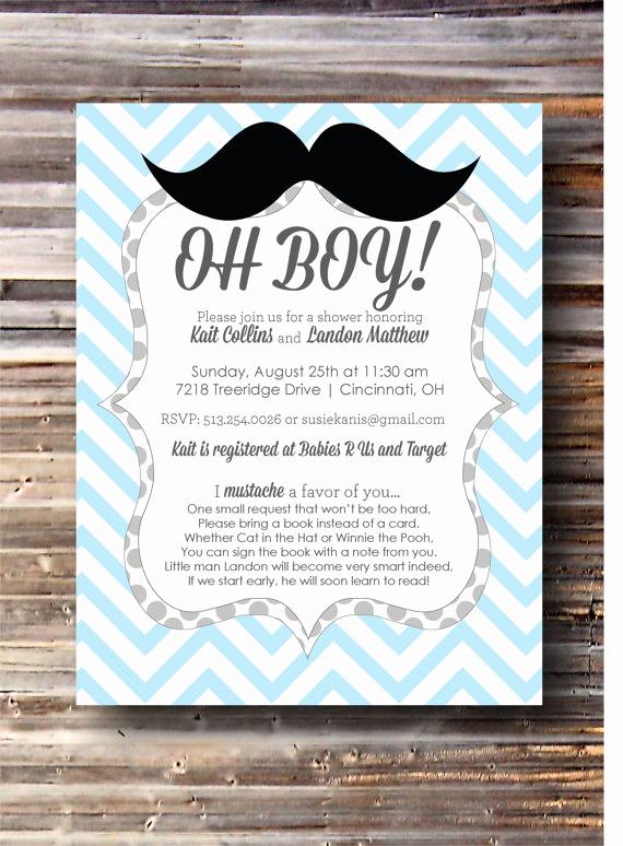 "Work Baby Shower Invitation Unique ""little Man"" Mustache themed Baby Shower"