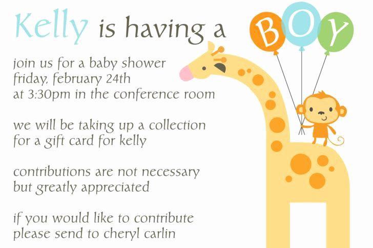 Work Baby Shower Invitation Wording Unique Fice Baby Shower Invitation Wording Giraffe Little