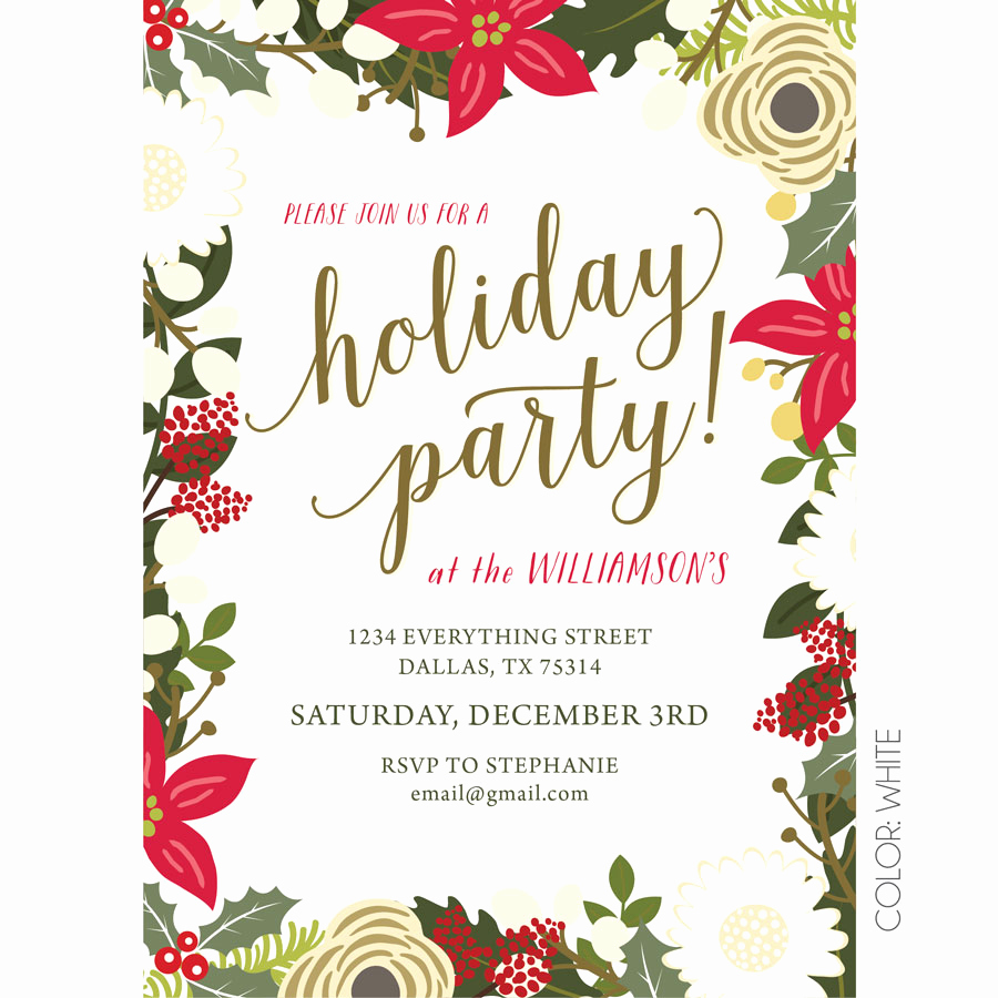 Work Christmas Party Invitation Awesome Floral Holiday Party Invitation
