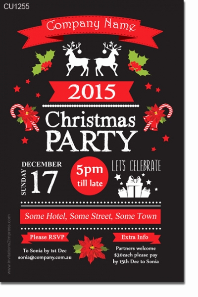 Work Christmas Party Invitation Beautiful Cu1255 Work Chalkboard Christmas Party Invitation