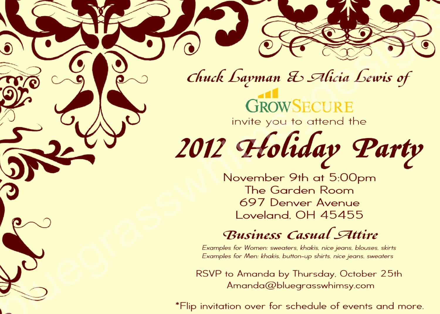 Work Christmas Party Invitation Beautiful Custom Corporate Holiday Party Invitation W Crimson Flourish