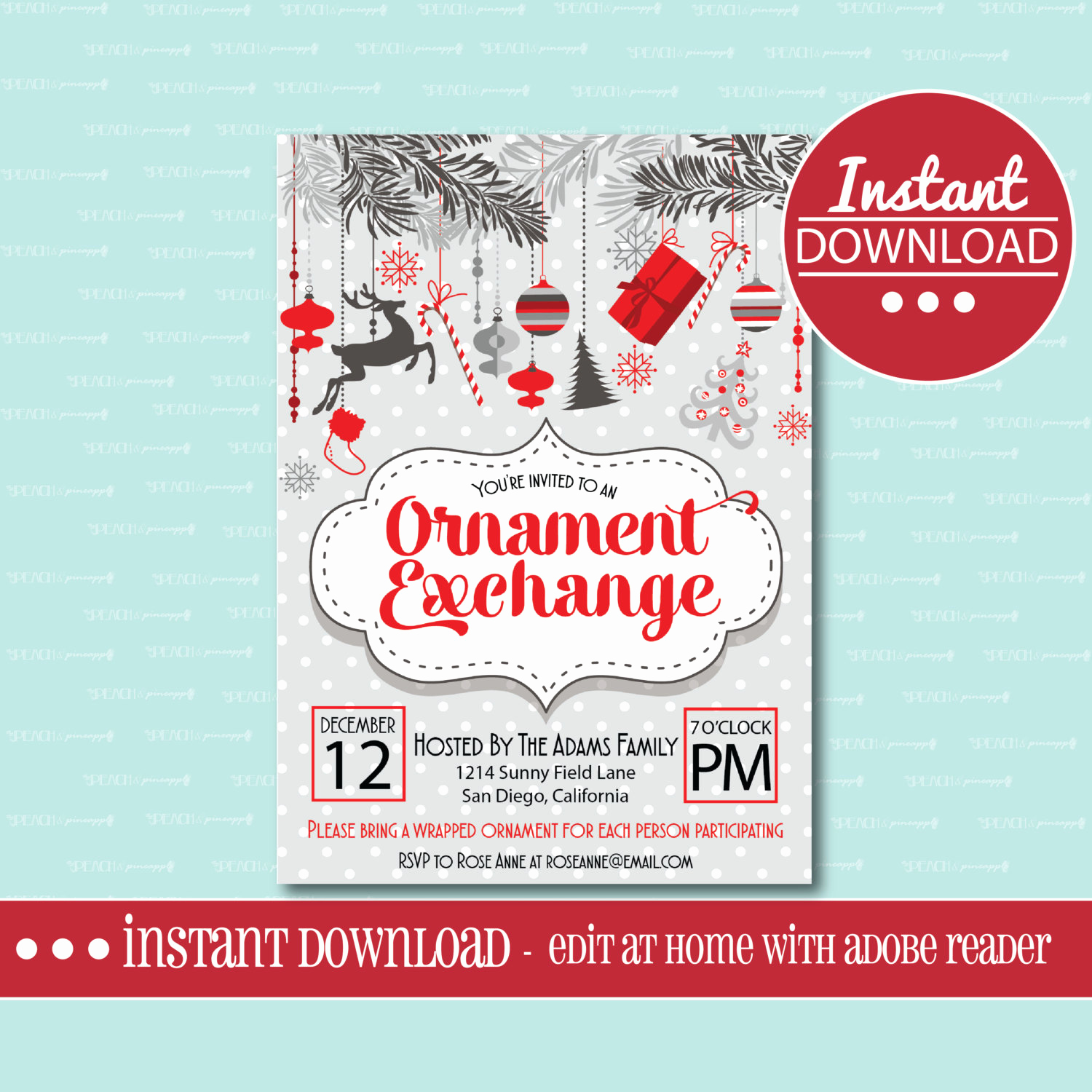 Work Christmas Party Invitation Elegant Christmas Party Invitation Editable Printable ornament