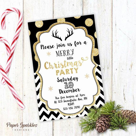 Work Christmas Party Invitation New Christmas Party Invitation Gold Christmas Invite Black