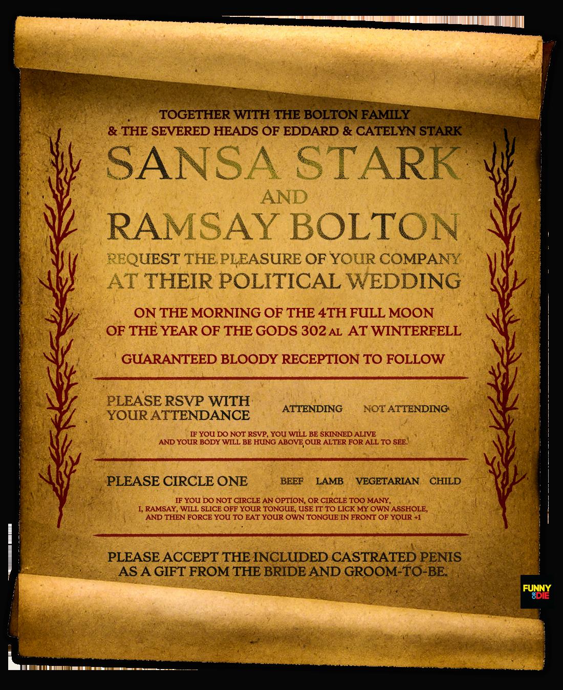 Zach Galifianakis Wedding Invitation Fresh Wedding Invitation for Sansa Stark and Ramsay Bolton