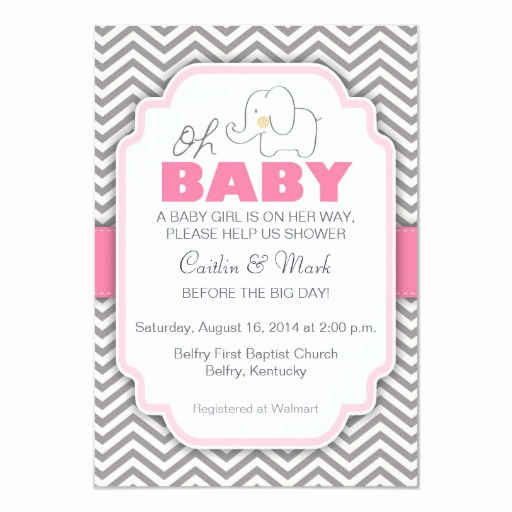 Zazzle Baby Shower Invitation Beautiful Oh Baby Elephant Pink & Gray Baby Shower Invite