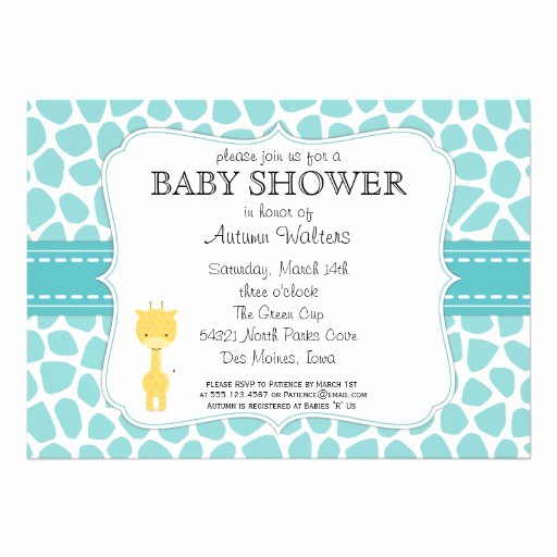 """Zazzle Baby Shower Invitation Elegant Giraffe Baby Shower Invitations 5"""" X 7"""" Invitation Card"""