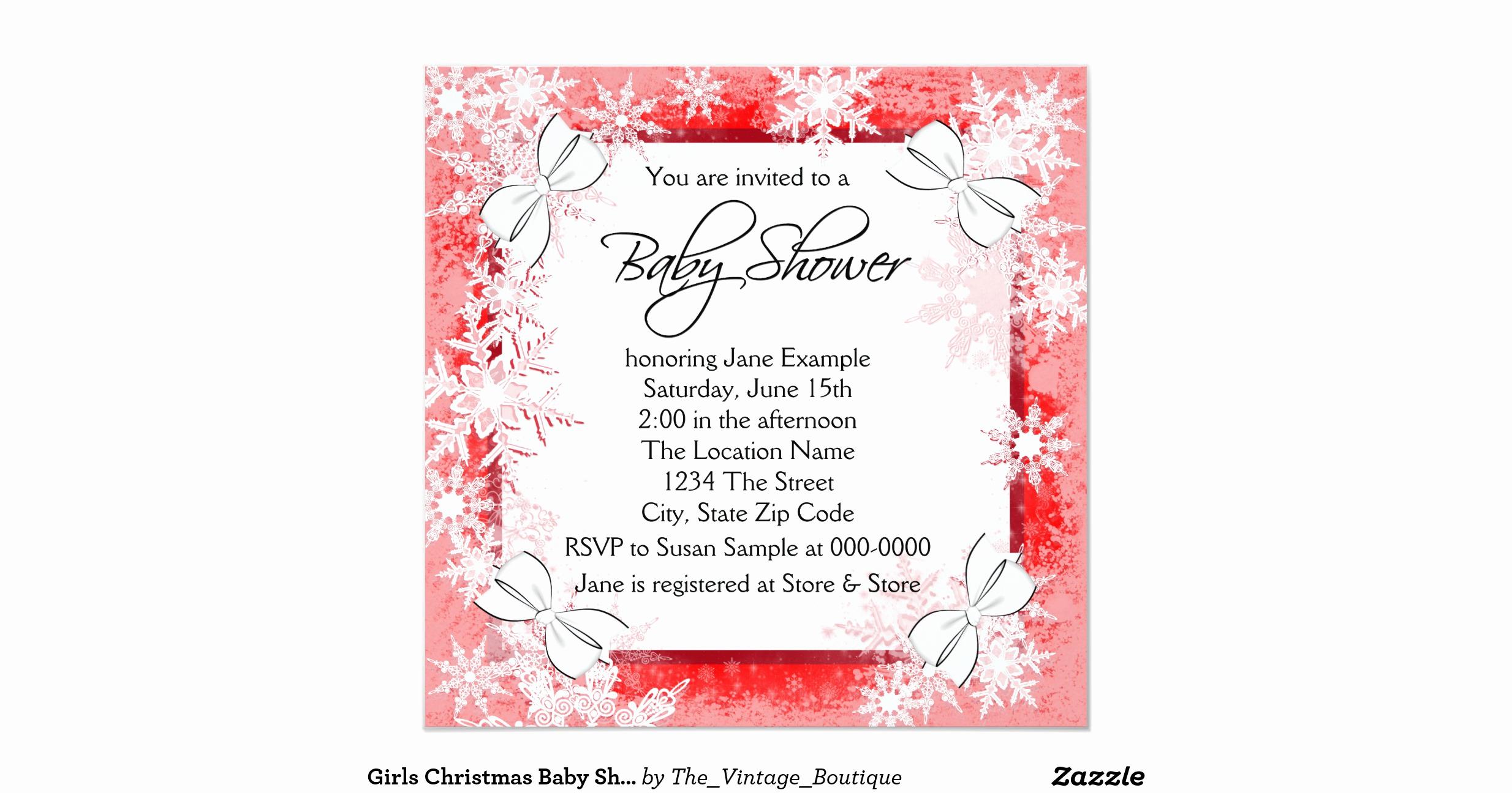 Zazzle Baby Shower Invitation Fresh Girls Christmas Baby Shower Invitation