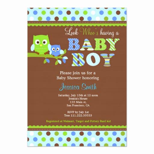 Zazzle Baby Shower Invitation Inspirational Owl Baby Shower Invitation Boy