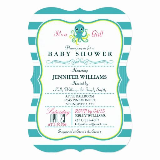 Zazzle Baby Shower Invitation Luxury Turquoise & Yellow Octopus Baby Shower Invitation