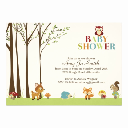 "Zazzle Baby Shower Invitation New Wooded Baby Shower Invitation 5"" X 7"" Invitation Card"
